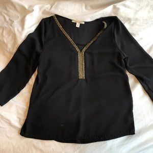 Black and Gold Beaded Top